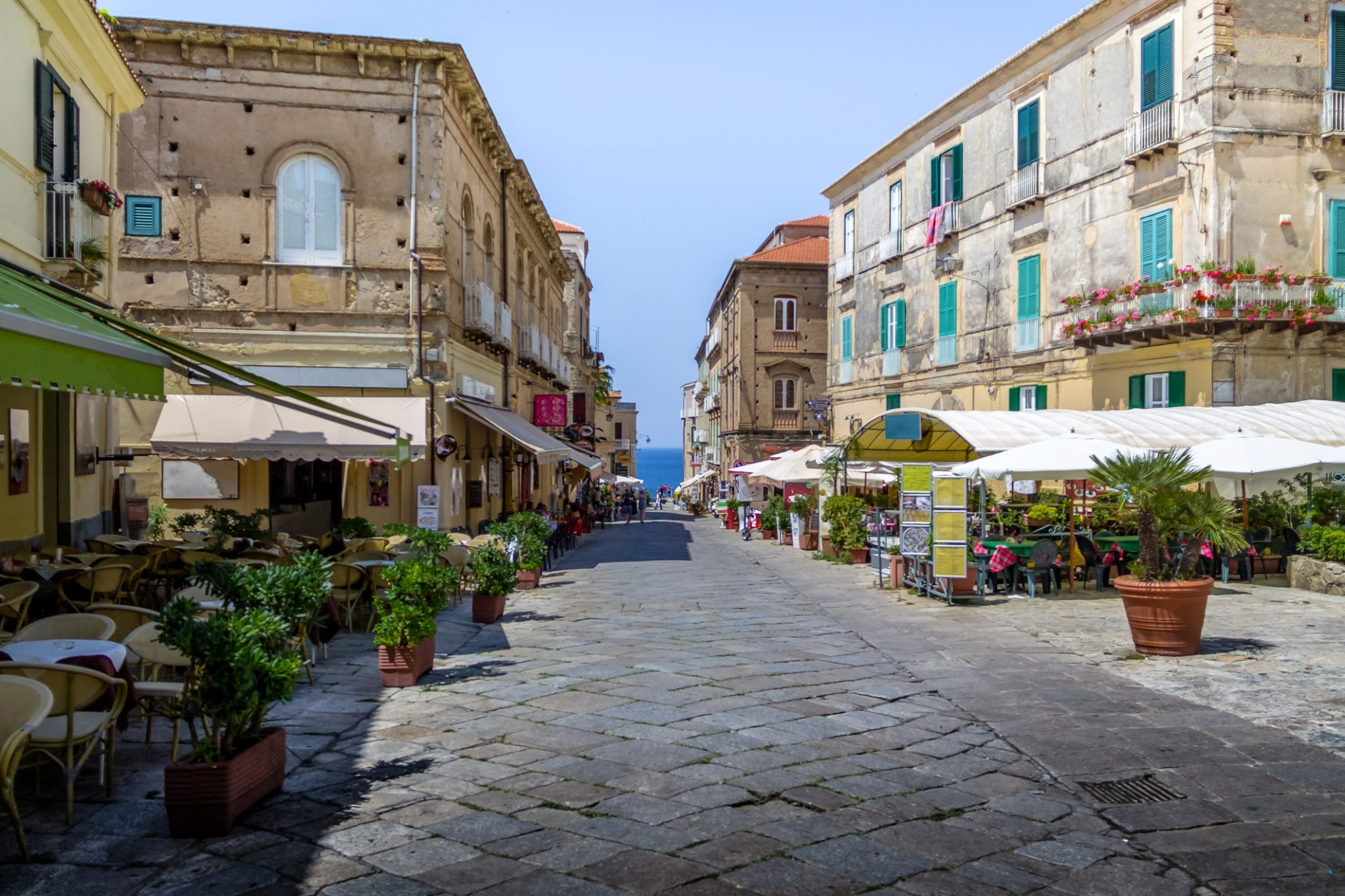 Buildings and restaurants in downtown Tropea